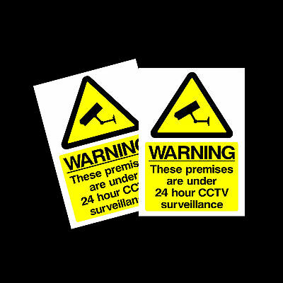 CCTV 24hr Surveillance warning stickers *Pack of 2* 150x200mm A5 Sign - MISC12
