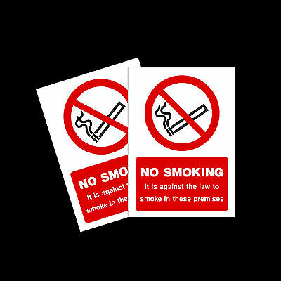 No Smoking warning stickers *Pack of 2* 150x200mm A5 Sign - MISC9