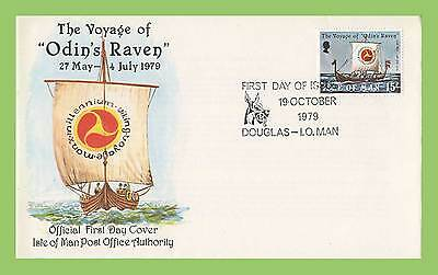 Isle of Man 1979 Voyage of Odin's Raven issue on First Day Cover Douglas Cancel