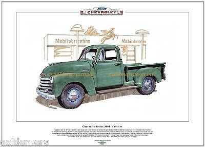 CHEVROLET Series 3100 PICKUP (1947-55) Fine Art Print A3 size - 1951 illustrated