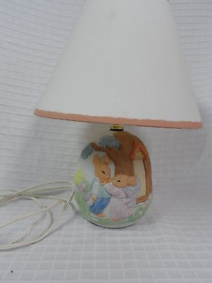 Nursery Lamp Ceramic used for PETER RABBIT Decor by Beatrix Potter with Shade