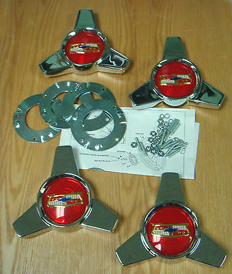1957 CHEVY BELAIR WHEEL COVER SPINNERS with Hardware USA MADE