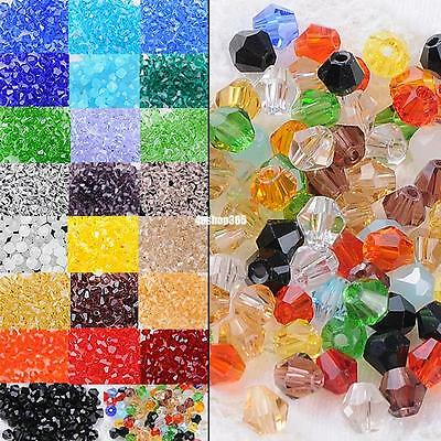 100x rondelle crystal glass loose beads faceted jewellery bracelet making 4mm