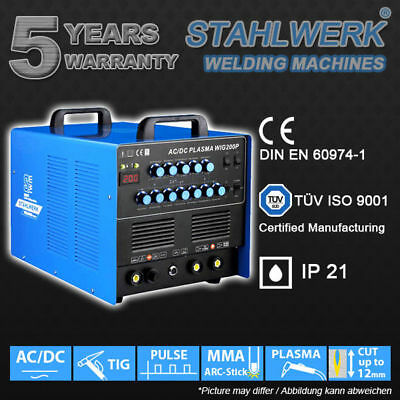 WELDER STAHLWERK AC/DC TIG 200 PULSE and PLASMA CUTTER - HF INVERTER ARC STICK