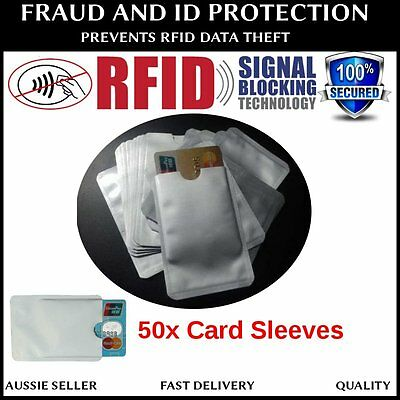 50 x RFID BLOCKING CREDIT CARD IDENTITY THEFT PROTECTOR ANTI SCAN SAFE SLEEVE