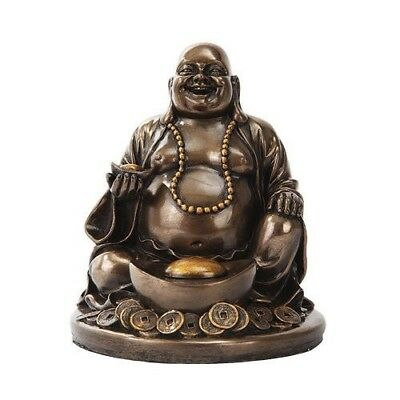 Buddhism Happy Laughing Buddha with Nugget Bronze Finish Statue Happiness Joy