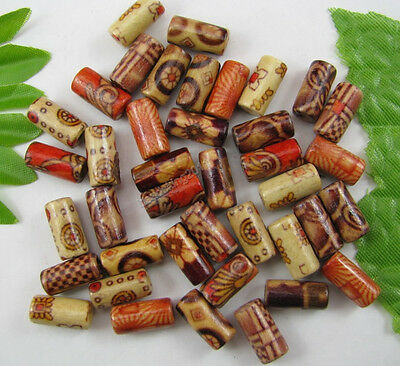 100Pcs Mixed Hand painted tubular wood beads 6MMx12MM diy findings