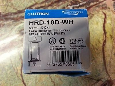 ❶ Lutron HRD-10D-WH Homeworks RF HW 1000 Watt Dimmer w/Wires - Previously Loved