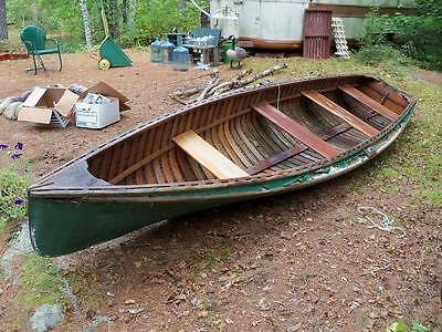16' ANTIQUE MAINE guide ROWING motor CANOE boat stern back  canvas WOOD sponsons