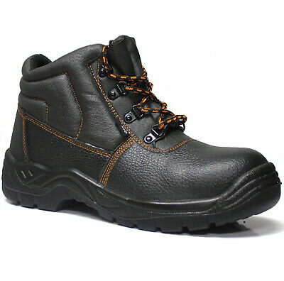 New Mens Leather Safety Steel Toe Cap Ankle Boots Work Trainers Hiking Shoes Sz