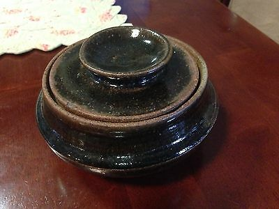 Brown handcrafted pottery pot w/lid signed