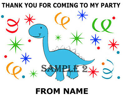Cute Dinosaur Thank You Stickers for party bags/Sweet Cones etc Ref 01-10