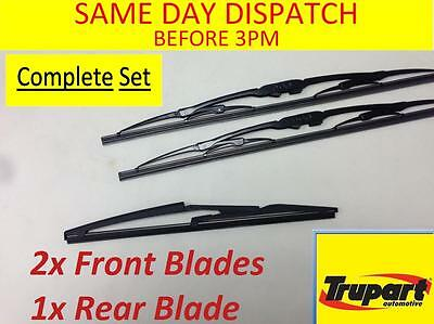Fiat Panda Mk2 03-12 Front & Rear Windscreen Wiper Blades X3 Complete Set