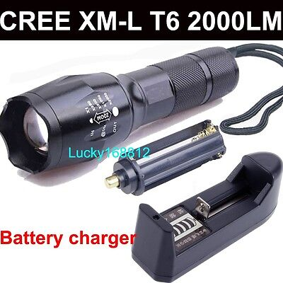2000Lm UltraFire CREE XML T6 LED Zoomable 18650 Flashlight Torch Battery Charger
