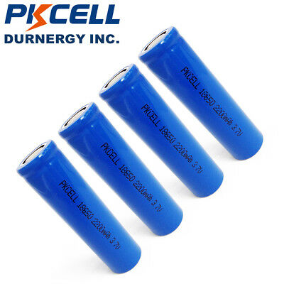 4 18650 3.7V Lithium ion Rechargeable 18650 Batteries 2200mAh Flat Top PKCELL