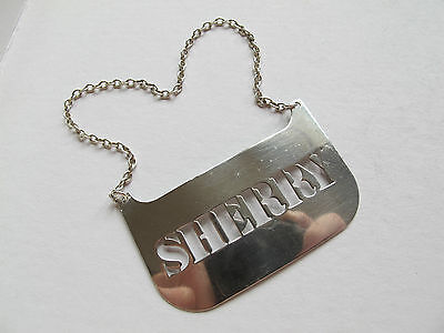 Large Vintage Hallmarked Solid Silver 'sherry' Decanter Label - 1977
