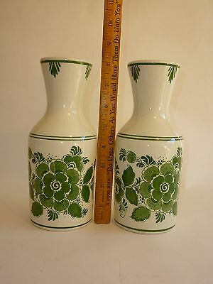 Vintage Pair Carafes Delft Green Made in Holland