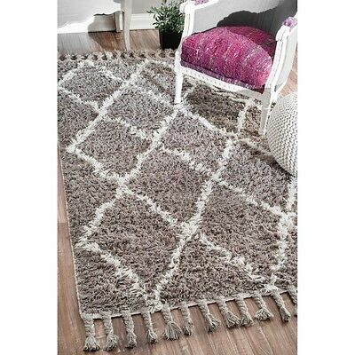 Hand knotted Moroccan Natural Shag Wool Rug 5 x 8 Carpet Area Office Living Room