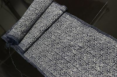 RARE VINTAGE Fabric Batik HEMP HMONG Hill Tribe Indigo Textile Table Runner