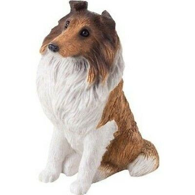 SANDICAST Sculpture Dog Figurine Small Size Sitting SS03201 SABLE & WHITE COLLIE