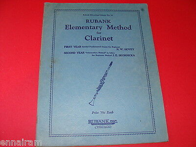 Rubank Educational Library #34 Elementary Method for Clarinet 1933 N W Hovey