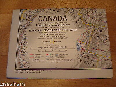 National Geographic Society Map 1972 Canada,  Ice Age Mammals