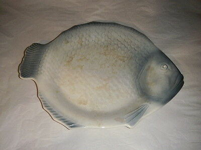 "Salem China Vintage Blue 16"" X 14"" Serving Platter Plate Fish Sea Beach Round"
