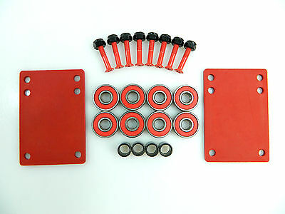 "Skateboard 1/8"" Red Riser Pad + ABEC 7 Bearings + Spacers + 1.0"" Hardware"