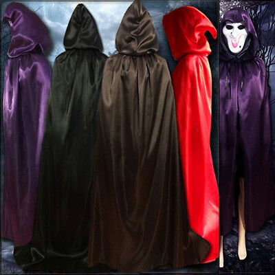 Adult Teenager Medieval Satin Hooded Cape Wedding Wicca Cloak Halloween Witch