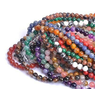 Wholesale 4MM 6MM 8MM 10MM 12MM Natural Gemstone Round Charms Spacer Loose Beads