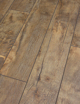 SAMPLE of Distressed Stone Canyon dark oak laminate flooring 12mm AC4 Click