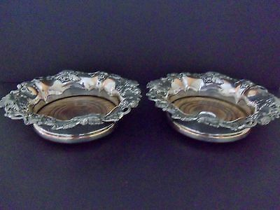 Pair English Old Sheffield Silver Plate OSP Wine Bottle Coasters c 1830