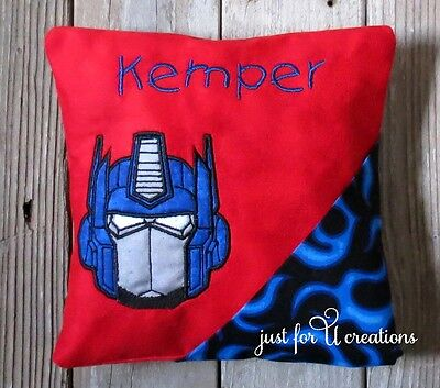 Boy's Personalized Embroidered Optimus Prime Transformers Tooth Fairy Pillow