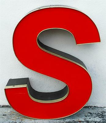 RED BROWN LED CHANNEL OUTDOOR INDOOR LARGE ACRYLIC ADVERTISING SIGN LETTER S ST