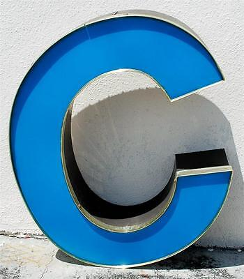 BLUE BROWN LED CHANNEL OUTDOOR INDOOR LARGE ACRYLIC ADVERTISING SIGN LETTER C ST
