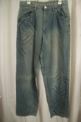 Makaveli Wide Leg Light Wash Jeans Embroidered with logos 32x34