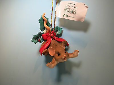 CHARMING TAILS-A Holly-Day Tail  Holiday Ornament-New