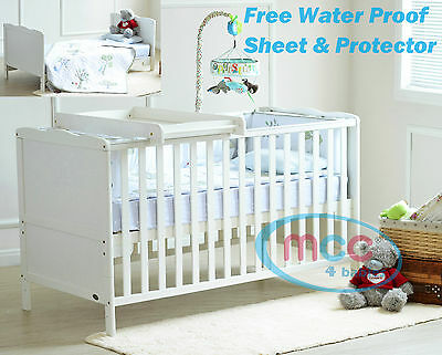 Wooden Baby Cot bed & Optional Top Changer & Water repellent Mattress 140x70cm