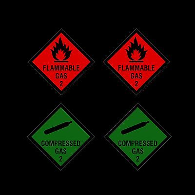 2 Flammable Gas & 2 Compressed Gas Warning Stickers *bulk pack* - 100x100mm