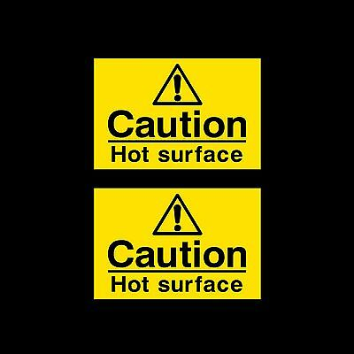 Caution Hot Surface Sign, Sticker *Pack of 2* 75x50mm - All Materials