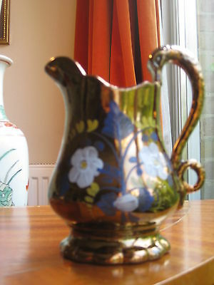 English Antique 1830's Staffordshire pottery Copper Lustre Swans Neck Jug