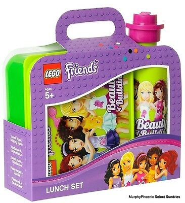 LEGO Friends Bright Yellow Lime Green Lunch Box and Drinking Bottle Set NWT