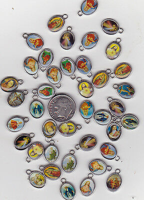 LOT OF 40 SILLVER TONE RELIGIOUS  METAL CHARMS.  U.S. SELLER  - C10