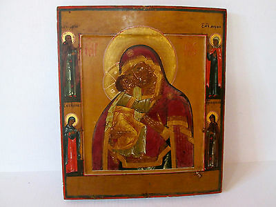 """ANTIQUE RUSSIAN ORTHODOX ICON """"MOTHER OF GOD"""" MAGNIFICENT QUALITY."""