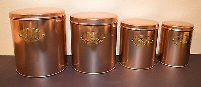NEW - RANGE KLEEN (4-Piece) Copper Finish KITCHEN CANISTER SET Flour Coffee Tea