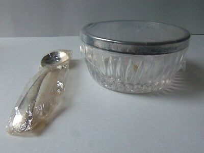 Leonard Crystal w/ Silver rim Bowl and Spoon.Original box and wrap. Italy