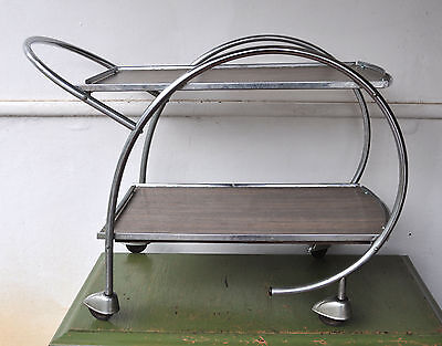 Antique 1930s/'40s Vintage Art Deco Tea Trolley Mobile Tray 2 Tiered Rare Design