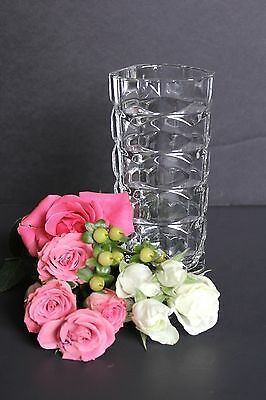 """Crystal Vase - Cube like w/ Filleted Triangle Opening - 6-5/8"""" High - France"""