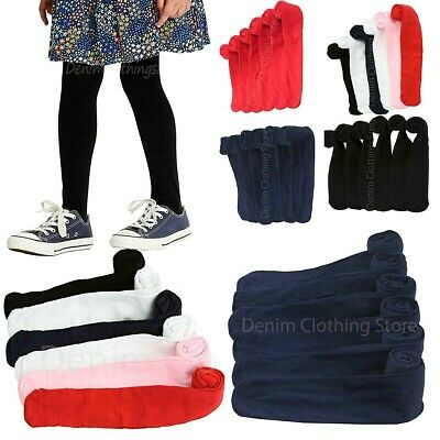 Lot Of 6 Girl's Children Winter Cool Solid Tights Soft Cute Comfortable S-Xl