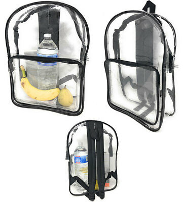 Clear Transparent Backpack Book Bag School Concerts Sports Stadium TSA Security